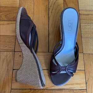 "Ann Taylor Loft 3.25"" wedge brown sandal"